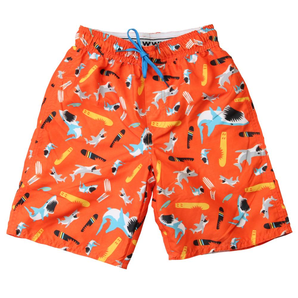 5d8e1db4075e6 Wes and Willy Toddler's Shark and Surfboard Swim Trunks
