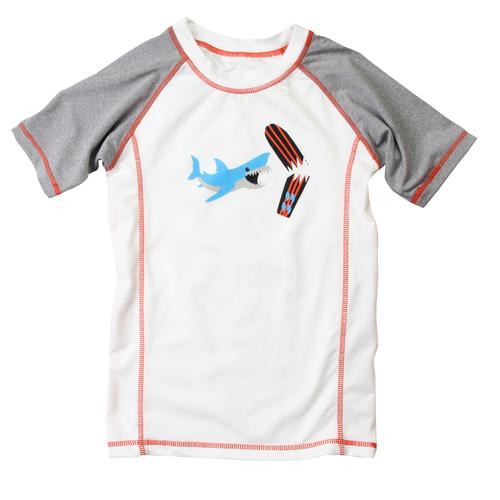 Wes and Willy Boys Shark and Surfboard Rash Guard