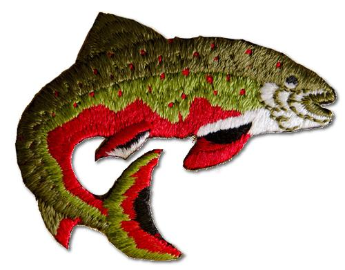 Trout Embroidered Iron On Patch