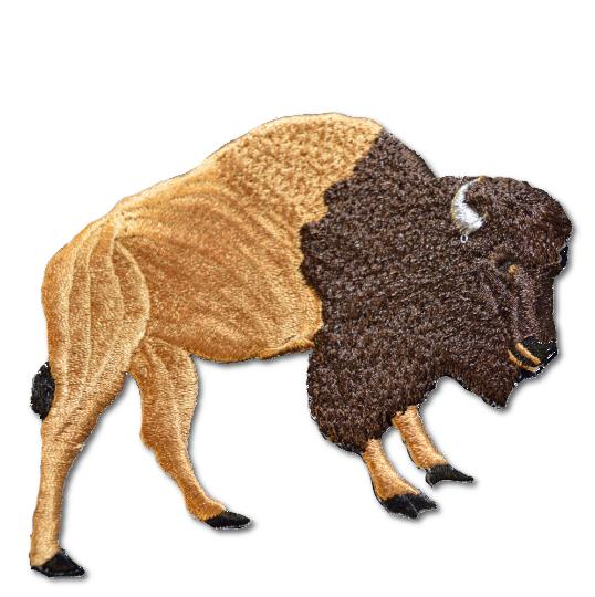 Bison Embroidered Iron On Patch