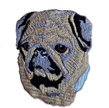 Pug Face Embroidered Iron On Patch TAUPE