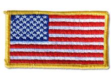 Left Arm American Flag With Border Embroidered Iron On Patch