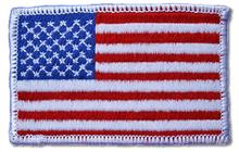 Left Arm American Flag with Border Embroidered Iron On Patch WHITE