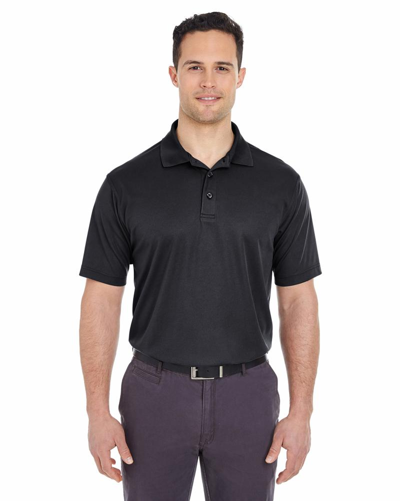 UltraClub Men's Cool & Dry Mesh Pique Polo BLACK