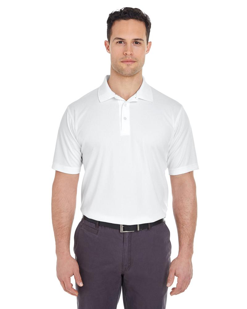 UltraClub Men's Cool & Dry Mesh Pique Polo WHITE