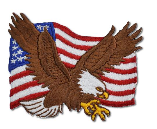 American Eagle Flag Embroidered Iron- On Patch
