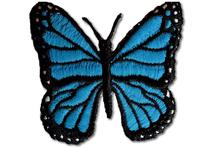 Butterfly Embroidered Iron On Patch BLUE
