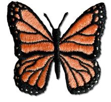 Butterfly Embroidered Iron On Patch CORAL