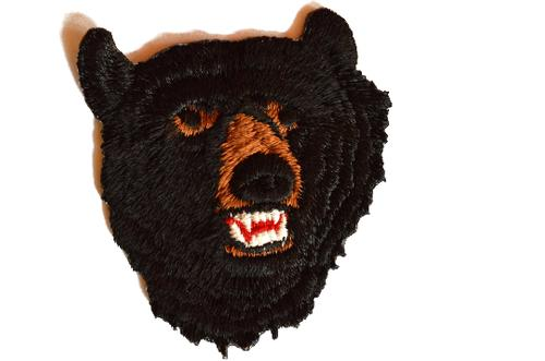Black Bear Head Embroidered Iron On Patch