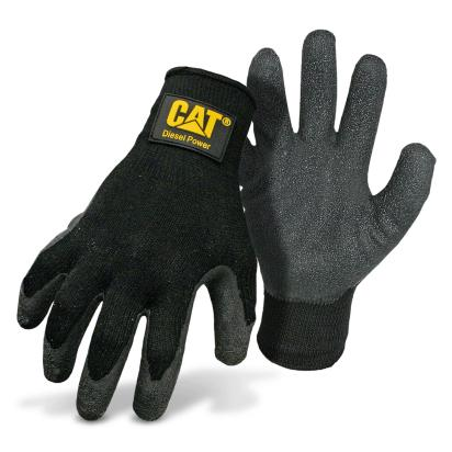 CAT Black Latex Palm Knit Gloves with Diesel Power Logo