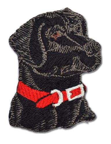Black Lab Head with Red Collar Embroidered Iron On Patch