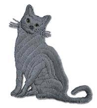 Cat Embroidered Iron On Patch GRAY