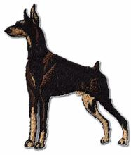 Doberman Pinscher Embroidered Iron On Patch BLACK