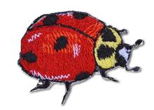Ladybug Embroidered Iron On Patch RED