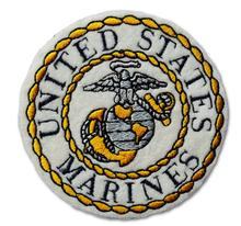United States Marine Embroidered Iron On Patch WHITE