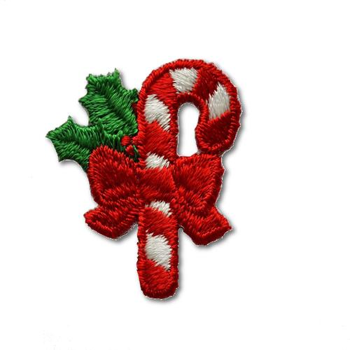 Candy Cane Embroidered Iron On Patch