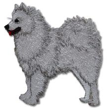 Samoyed Embroidered Iron On Patch WHITE