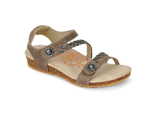 Aetrex Women's Jillian Braided Quarter Strap Sandal - Grey