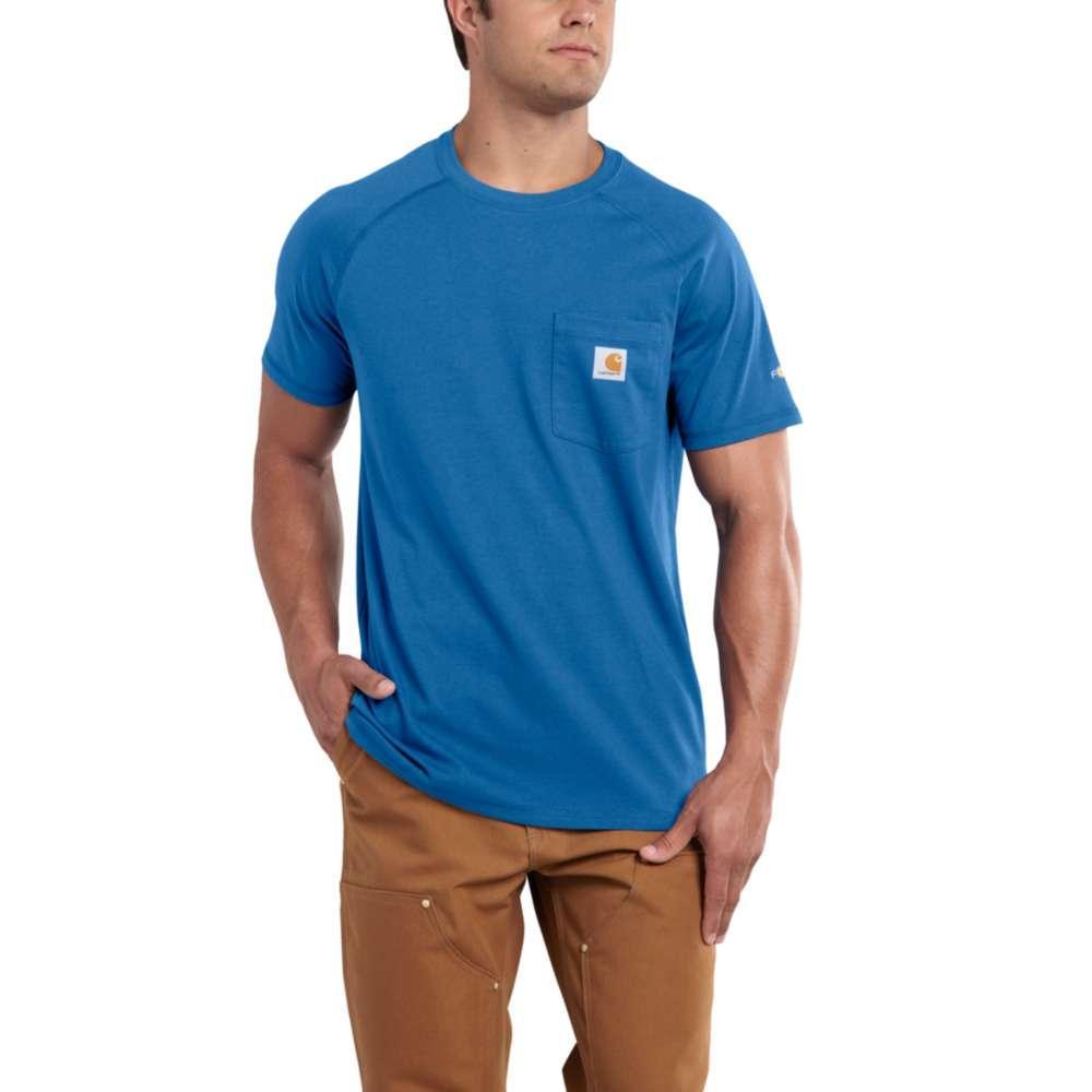 Carhartt Men's Force Cotton Delmont Short Sleeve T-Shirt COOL_BLUE
