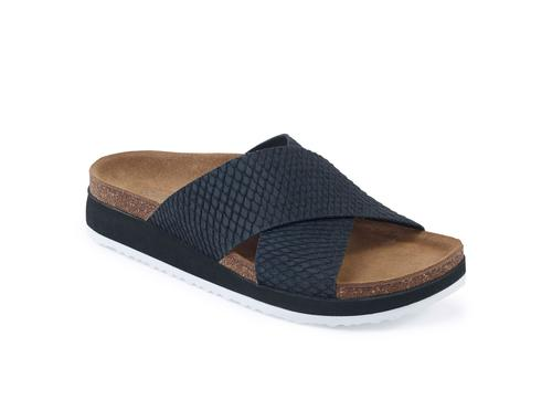 Aetrex Women's Dawn Cross Strap Slide Sandal - Black