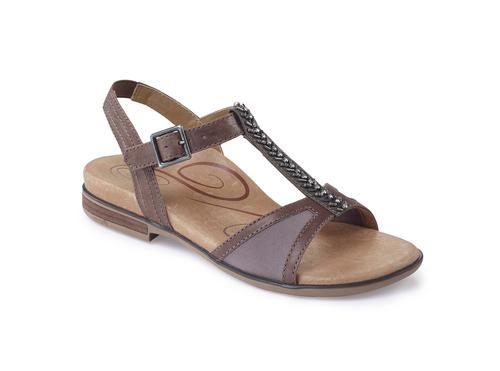 Aetrex Women's Leanna T-Strap Sandal in Stone