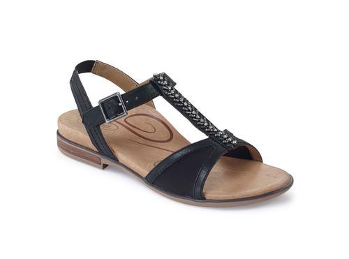 Aetrex Women's Leanna T-Strap Sandal in Black