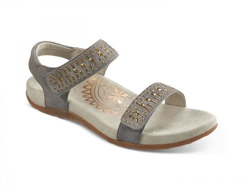 Aetrex Women's Maria Quarter Strap Sandal in Grey