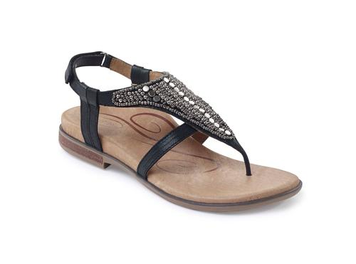 Aetrex Women's Sheila Sling Back Thong Sandal in Black