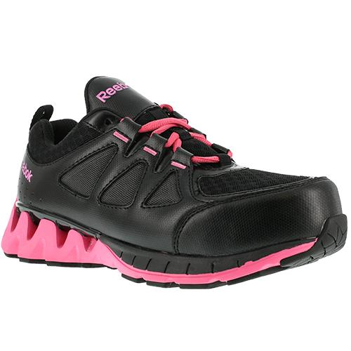 Reebok Work Women's ZigKick Composite Toe Work Shoe Black and Pink
