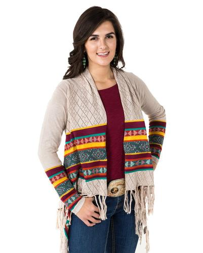 Noble Outfitters Women's Frontier Fringe Cardigan