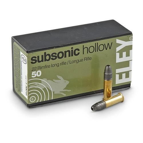 Eley 22 Subsonic 40gr Hollow Point Rimfire Long Rifle Ammunition