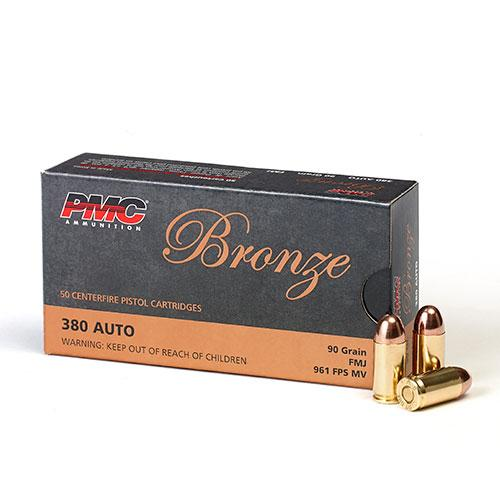 PMC Bronze 380 ACP 90gr Full Metal Jacket Ammunition 50 Rounds