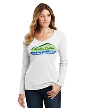Women's Hudson Valley Weather Long Sleeve V Neck Tee WHITE