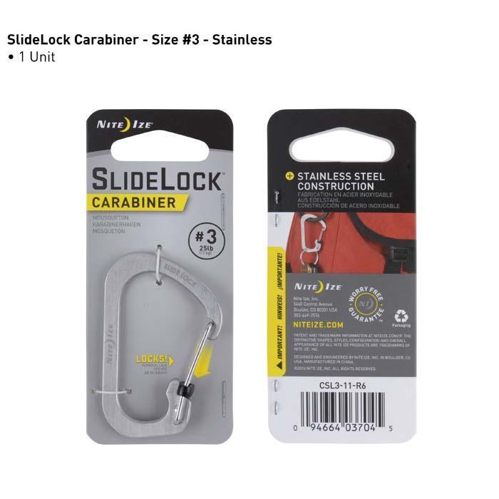 Nite Ize Slidelok Carabiner Size 3 In Stainless