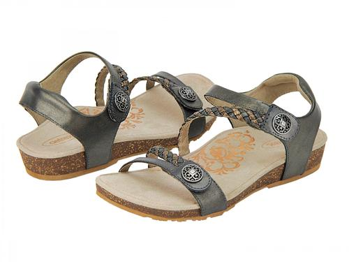 Aetrex Women's Jillian Braided Quarter Strap Sandal - Gunmetal