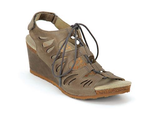Aetrex Women's Giselle Ghillie Tie Sandal in Stone