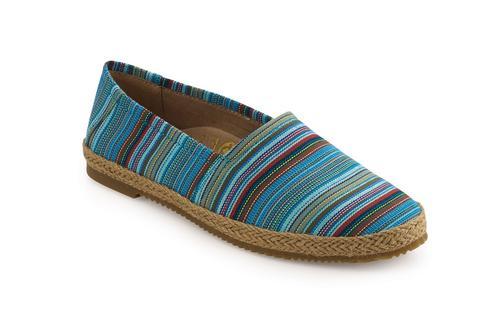 Aetrex Women's Kylie Slip On Shoe in Blue Stripe