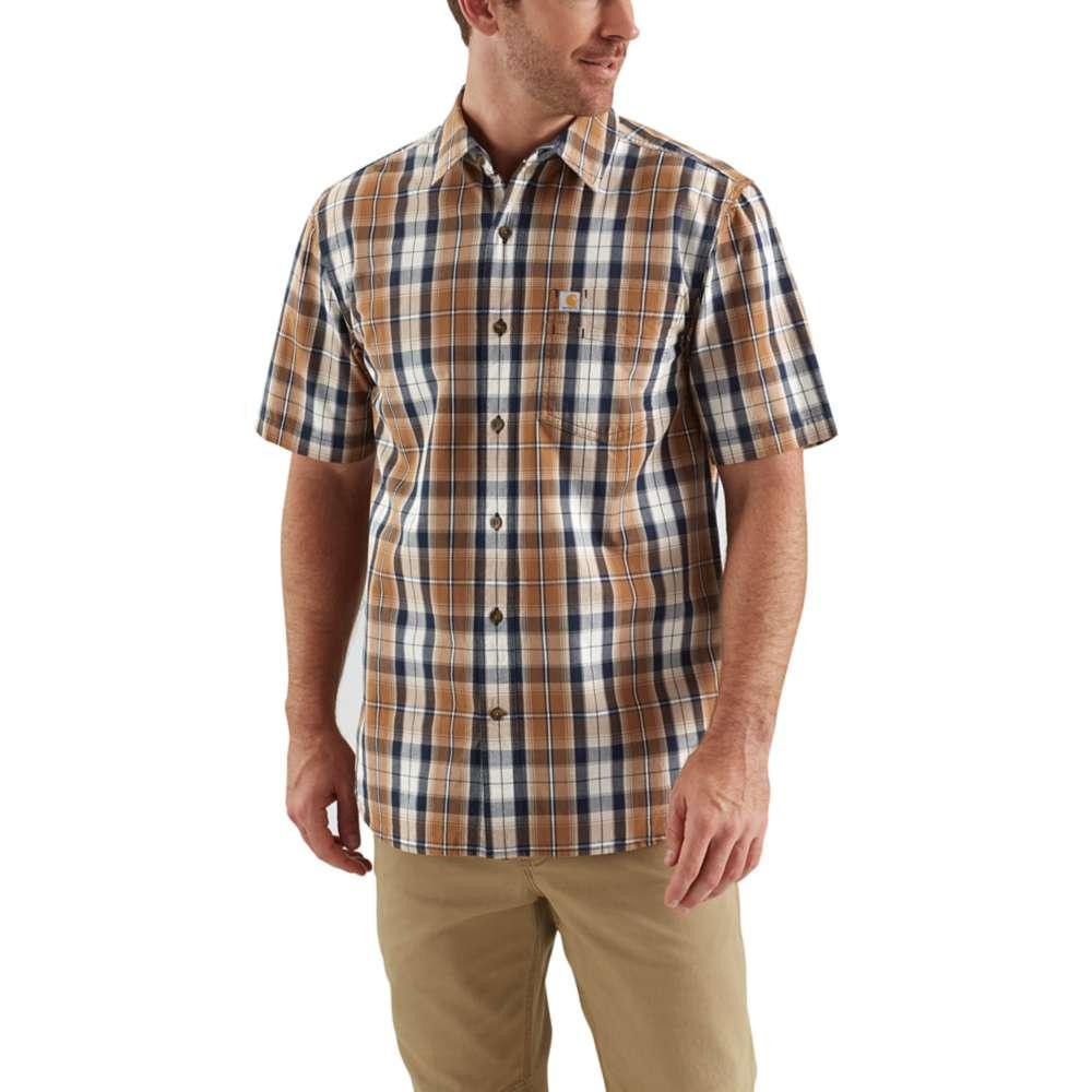 1956f84220 Carhartt Men's Essential Plaid Open Collar Short Sleeve Shirt CARHARTT_BROWN
