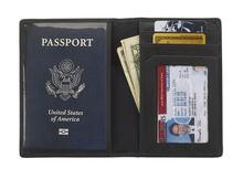 Lewis N Clark RFID Blocking Leather Passport Wallet BLACK