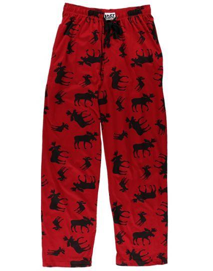 Lazy One Unisex Classic Moose Red Pajama Pants