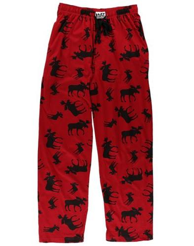 Lazy One Unisex Classic Moose Red Pajama Pants