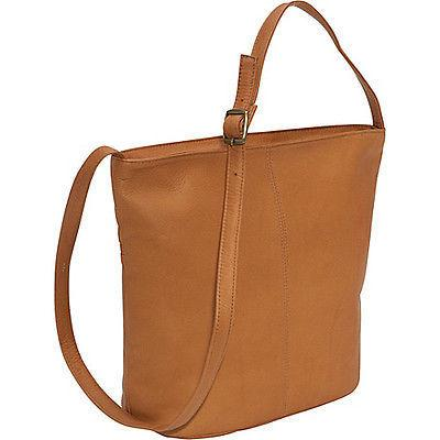 Le Donne Leather Front Zip Bucket Tote Bag