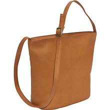 Le Donne Leather Front Zip Bucket Tote Bag TAN