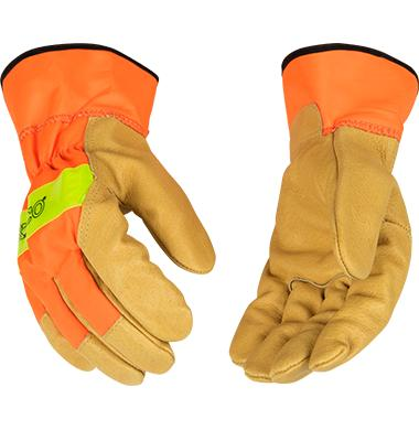 Kinco Hi-vis Orange and Grain Pigskin Glove with Safety Cuff