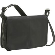Le Donne Leather Classic Flap Over Messenger Bag BLACK