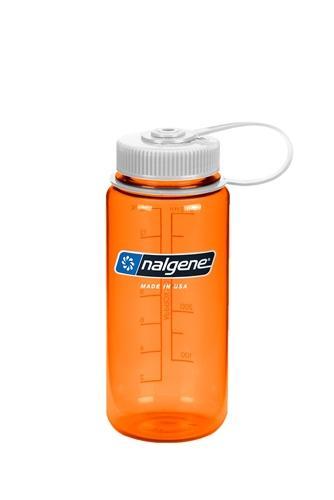 Nalgene Wide Mouth 16oz Bottle Orange with White Cap ORANGE
