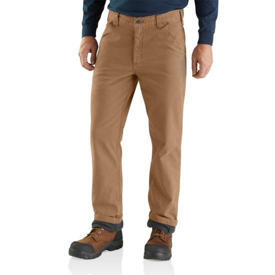 Carhartt Men's Rugged Flex® Rigby Dungaree Knit Lined Pant DARK_KHAKI