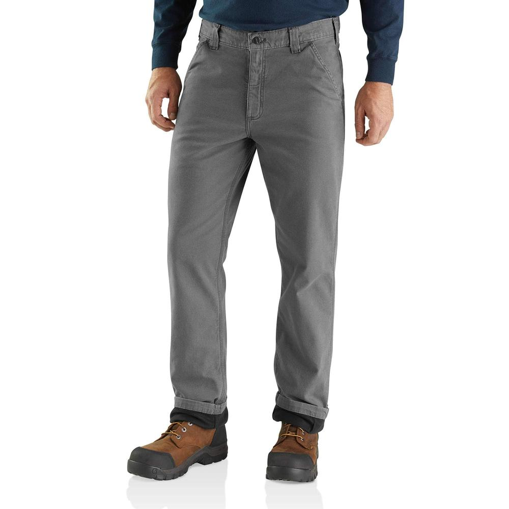 Carhartt Men's Rugged Flex® Rigby Dungaree Knit Lined Pant GRAVEL