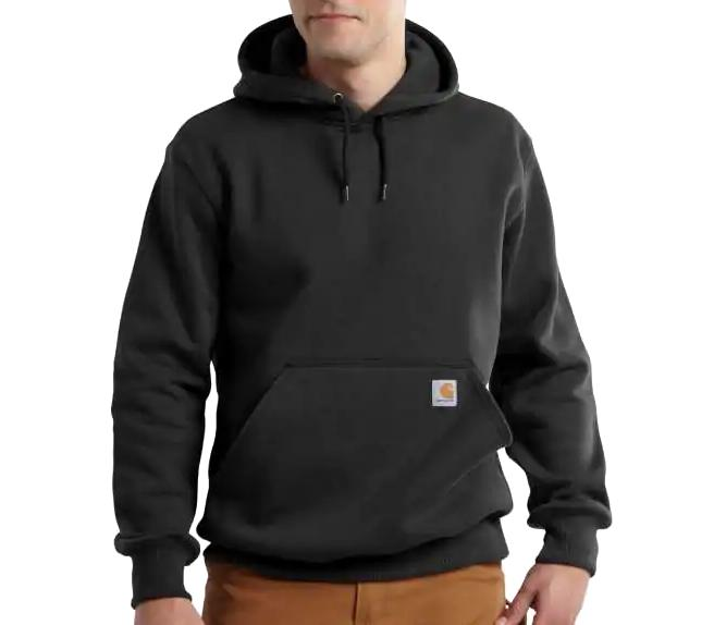 Carhartt Men's Rain Defender Paxton Hooded Heavyweight Sweatshirt BLACK