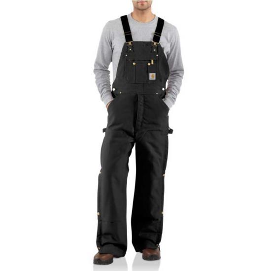 Carhartt Men's Duck Zip- To- Thigh Bib Overall/Quilt Lined